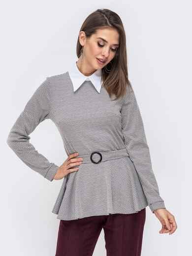 Серая блузка с принтом и баской 41434, фото 1
