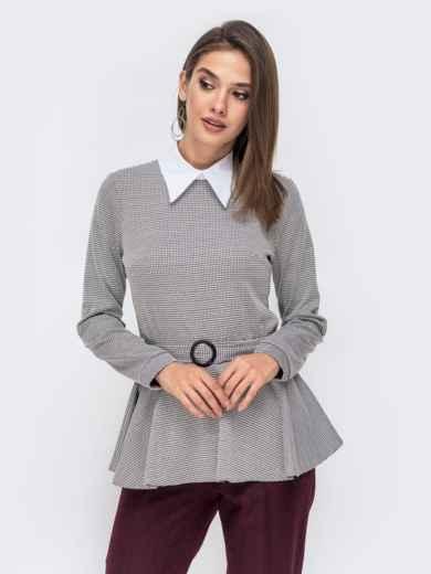 Серая блузка с принтом и баской 41434, фото 2