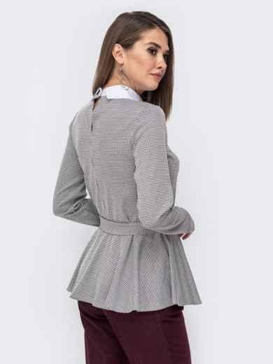 Серая блузка с принтом и баской 41434, фото 3