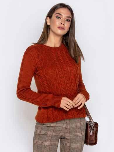 Терракоторый свитер с ажурной вязкой - 41160, фото 1 – интернет-магазин Dressa