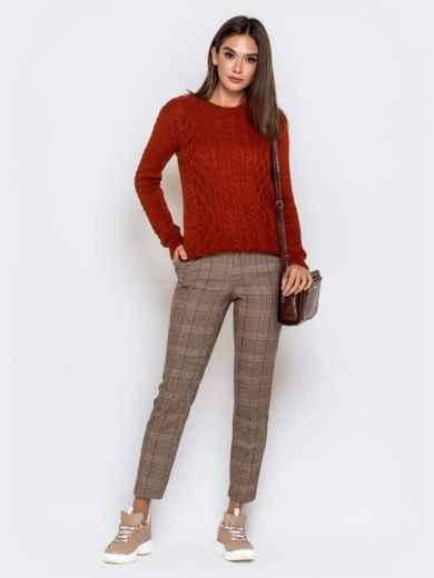 Терракоторый свитер с ажурной вязкой - 41160, фото 3 – интернет-магазин Dressa