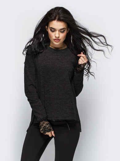 Туника с кружевом на манжетах черная - 13946, фото 1 – интернет-магазин Dressa