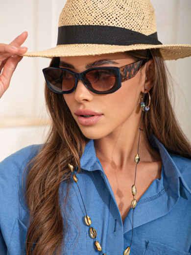 Темно-синие очки с леопардовыми дужками 54179, фото 1