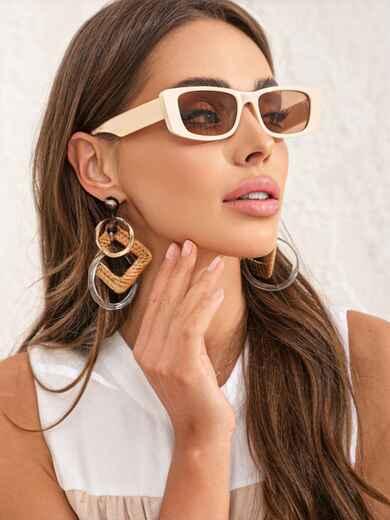 Бежевые очки прямоугольной формы с затемненными линзами 54173, фото 1