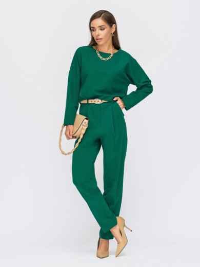 Брючный костюм со свободной блузкой зеленый 55167, фото 1