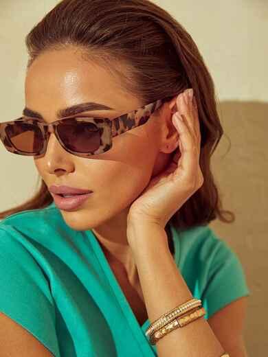 Коричневые очки прямоугольной формы с леопардовым принтом 54172, фото 1