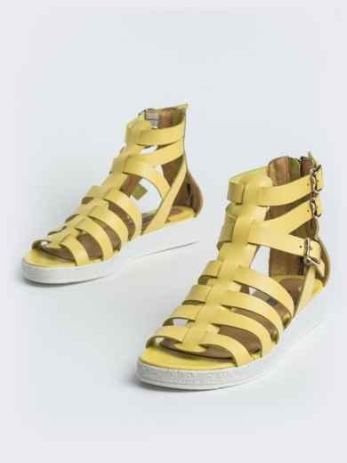 Кожаные сандалии желтого цвета - 40134, фото 2 – интернет-магазин Dressa