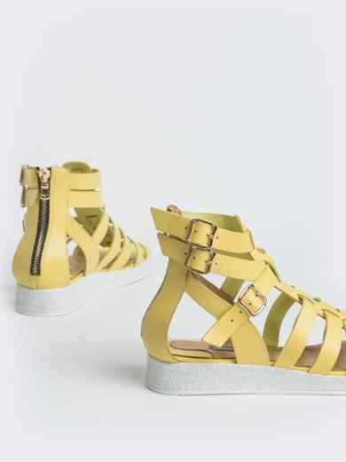 Кожаные сандалии желтого цвета - 40134, фото 3 – интернет-магазин Dressa