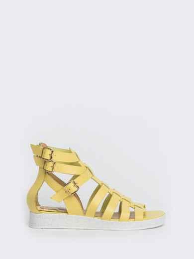 Кожаные сандалии желтого цвета - 40134, фото 4 – интернет-магазин Dressa