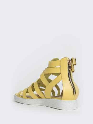Кожаные сандалии желтого цвета - 40134, фото 5 – интернет-магазин Dressa