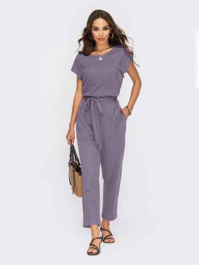Льняной костюм-двойка с брюками фиолетовый 54617, фото 1