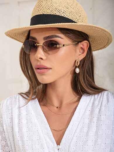 Овальные очки без оправы с коричневыми линзами 54180, фото 1