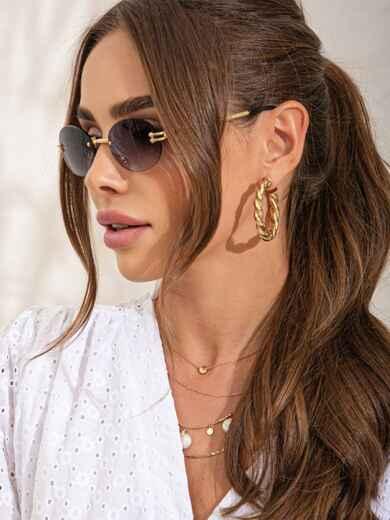 Овальные очки без оправы с серыми линзами 54182, фото 1