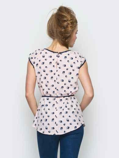 Розовая принтованная блузка с контрастной окантовкой - 12323, фото 2 – интернет-магазин Dressa