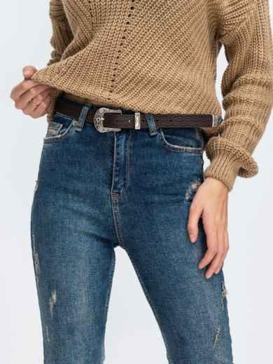 Синие джинсы с завышенной талией и поясом - 43103, фото 3 – интернет-магазин Dressa