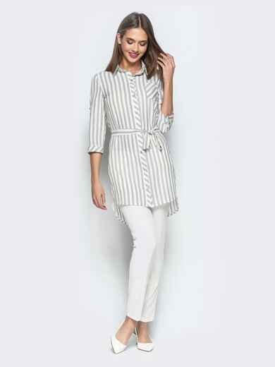 Удлиненная блузка в широкую серую полоску 22271, фото 1