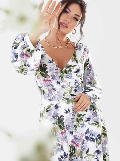 Белое платье батал длины макси с цветочным принтом 53645, фото 1