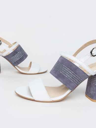 Белые босоножки из натуральной кожи на устойчивом каблуке 39679, фото 1