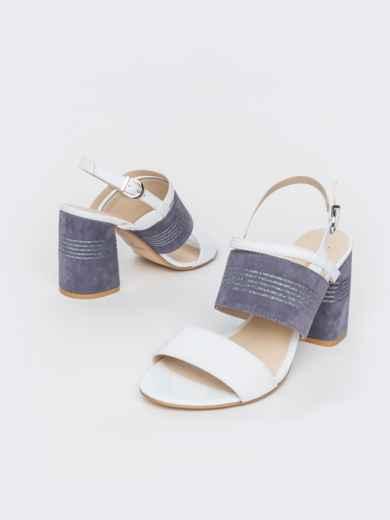 Белые босоножки из натуральной кожи на устойчивом каблуке - 39679, фото 2 – интернет-магазин Dressa
