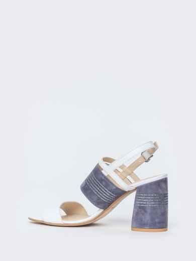 Белые босоножки из натуральной кожи на устойчивом каблуке - 39679, фото 4 – интернет-магазин Dressa