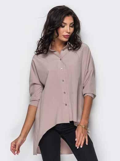 Бежевая блузка из крепдешина с удлиненной спинкой 10207, фото 1
