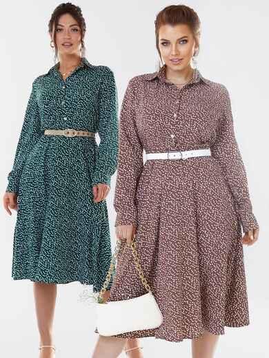 Бежевое платье-рубашка большого размера в горошек 53647, фото 1