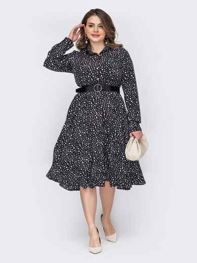 Черное платье-рубашка большого размера в горошек 53646, фото 1