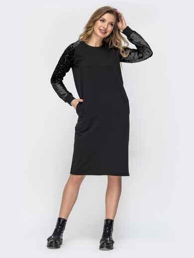 Чёрное платье с рукавом реглан из пайеток 45001, фото 1