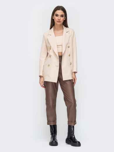 Коричневые брюки из эко-кожи с высокой посадкой - 44736, фото 4 – интернет-магазин Dressa