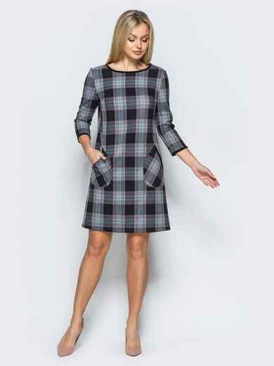 Платье из костюмной ткани в клетку с накладными карманами - 17572, фото 1 – интернет-магазин Dressa