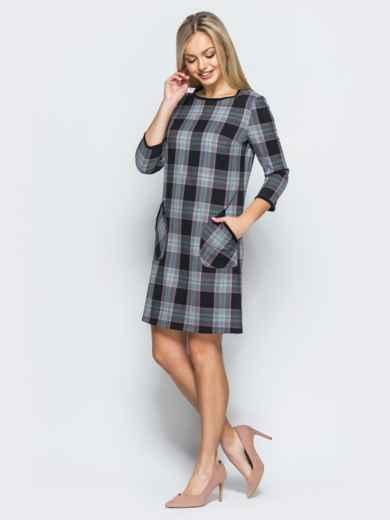 Платье из костюмной ткани в клетку с накладными карманами - 17572, фото 2 – интернет-магазин Dressa
