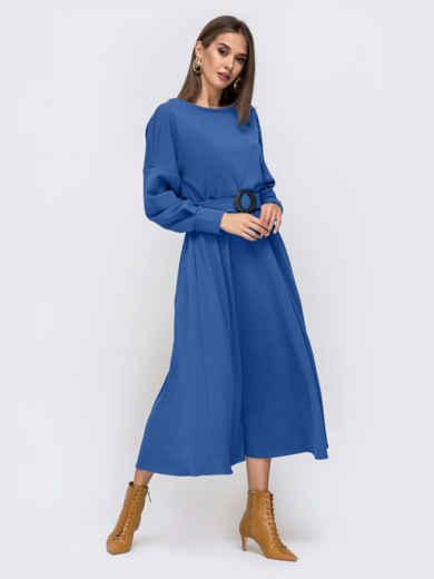 Платье из креп-дайвинга с расклешенной юбкой синее 51593, фото 2
