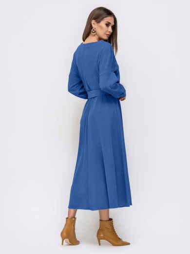 Платье из креп-дайвинга с расклешенной юбкой синее 51593, фото 4
