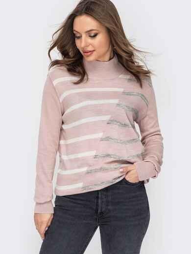 Пудровый свитер с мелкой контрастной вязкой 52997, фото 1