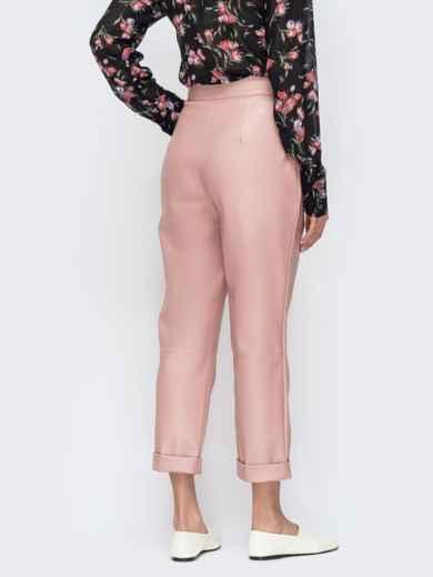 Розовые брюки из эко-кожи с высокой посадкой 44737, фото 2