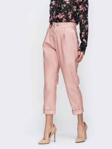 Розовые брюки из эко-кожи с высокой посадкой 44737, фото 3