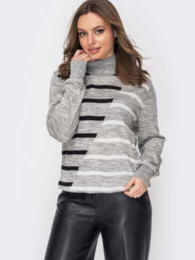Серый свитер с мелкой контрастной вязкой 52996, фото 1