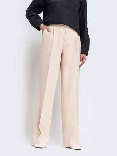 Широкий брюки бежевого цвета с высокой посадкой 44739, фото 1