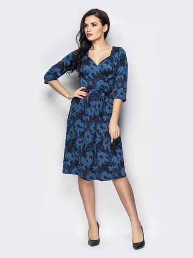 Синее платье на запах с принтом 13662, фото 1