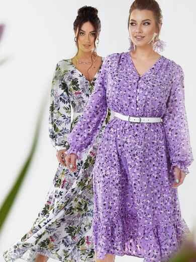 Сиреневое платье большого размера с воланом по низу 53650, фото 1