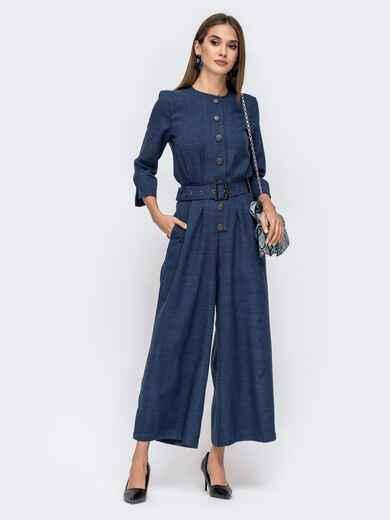 Тёмно-синий комбинезон с брюками-кюлотами на кнопках 41490, фото 1