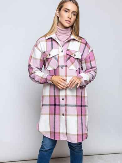 Удлиненная рубашка в клетку с накладными карманами пудровая 51615, фото 2
