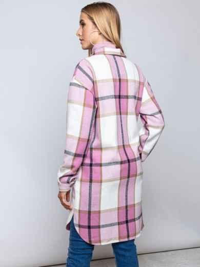 Удлиненная рубашка в клетку с накладными карманами пудровая 51615, фото 3