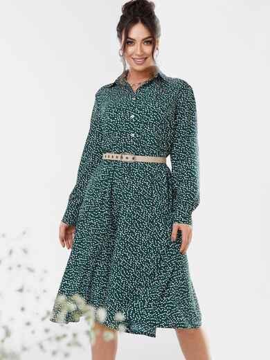 Зеленое платье-рубашка большого размера в горошек 53648, фото 1