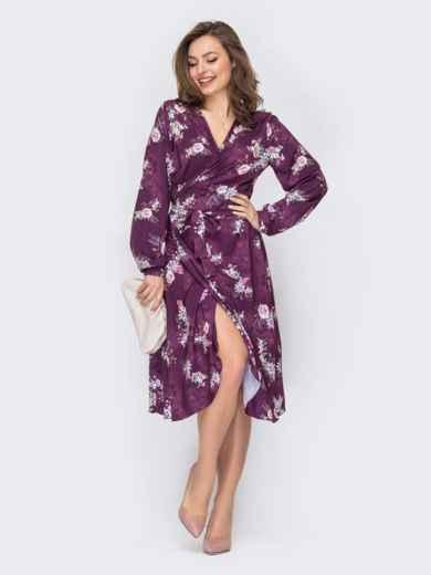 Фиолетовое платье на запах с цветочным принтом 53421, фото 1