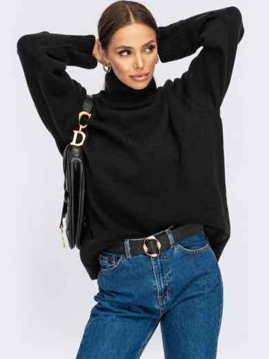 Чёрный свитер свободного кроя с воротником 54905, фото 1