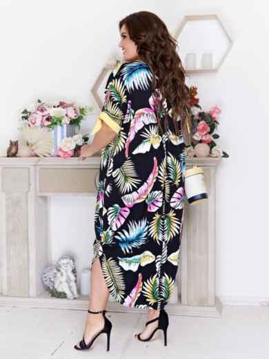 Платье батал с принтом и разрезами по бокам чёрное - 48096, фото 2 – интернет-магазин Dressa