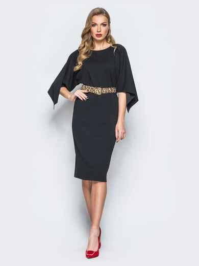 Платье черного цвета с леопардовым поясом в комплекте 17941, фото 1