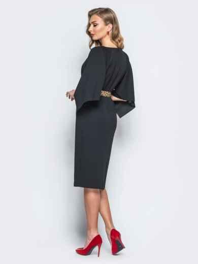 Платье черного цвета с леопардовым поясом в комплекте - 17941, фото 2 – интернет-магазин Dressa