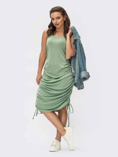 Платье мятного цвета из вискозы с завязками 54402, фото 1